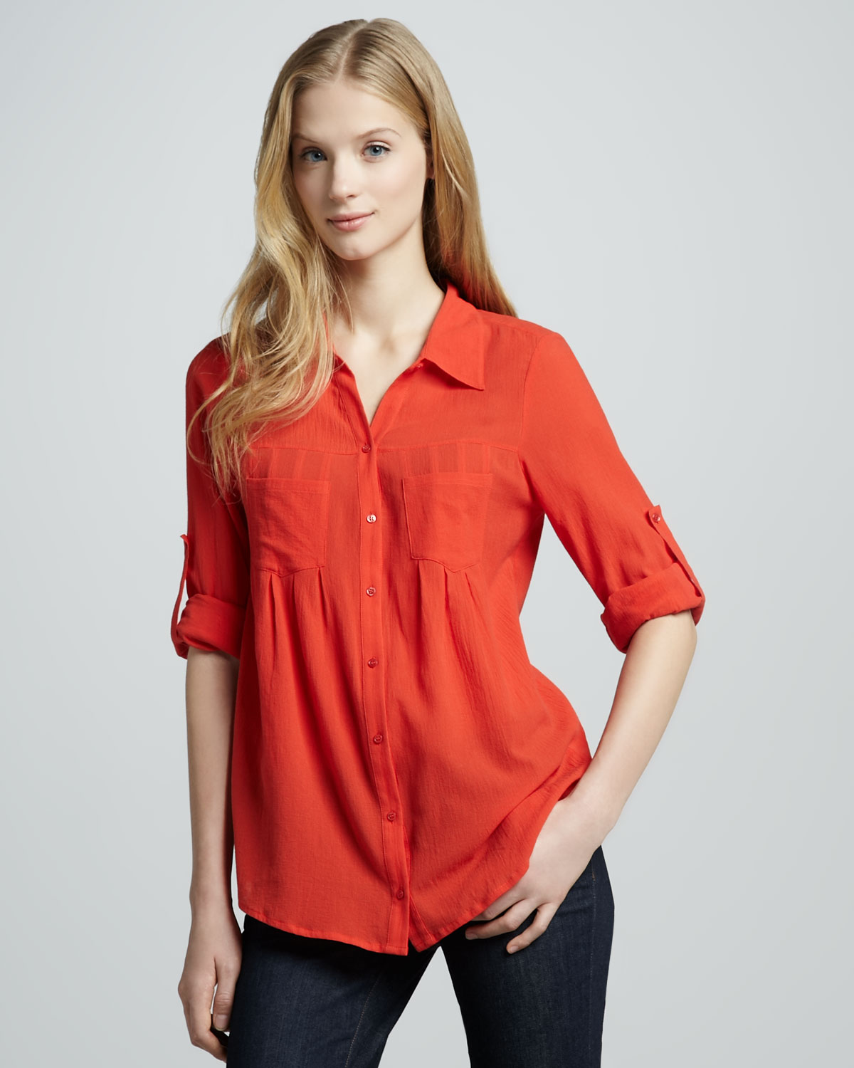 Joie-Pinot-Double-Pocket-Blouse-Cherry