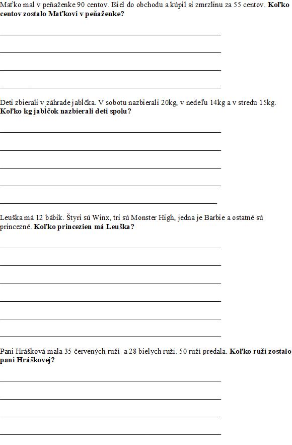 Matematika - slovné úlohy 2-3