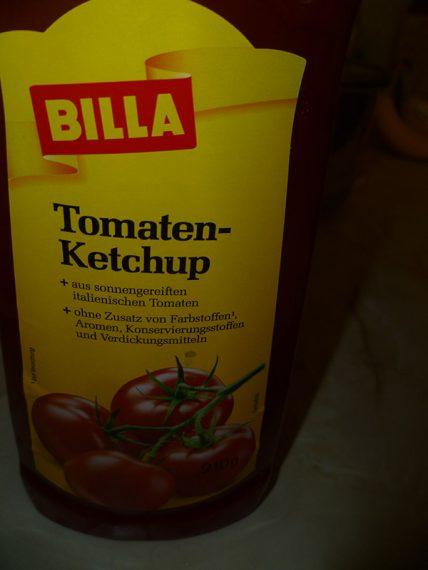 Billa kečup bez konzervantov, umelých farbív, umelých aróm..