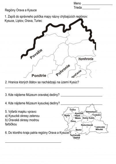 Regióny Orava a Kysuce. 4.ročník Vlastiveda
