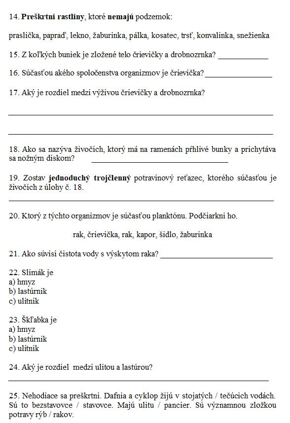 Biológia pre 5. ročník ZŠ - Voda 2