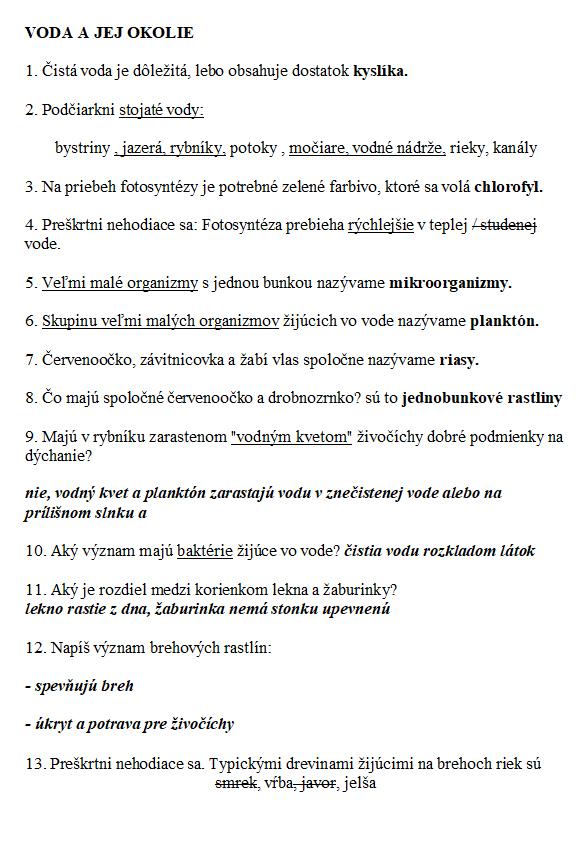 Biologia pre 5. ročník ZŠ Voda 1